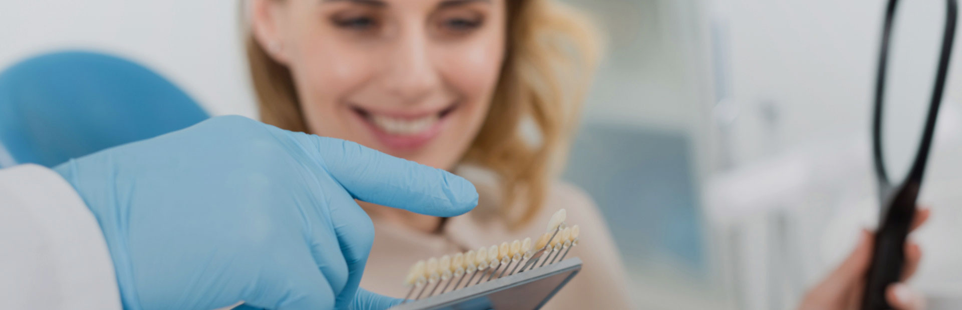 Patient choosing dental veneers