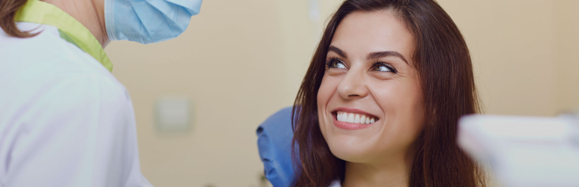 Patient smiling at the dental